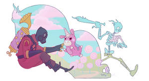 Pyro and Balloonicorn by Dazzle-Camouflage