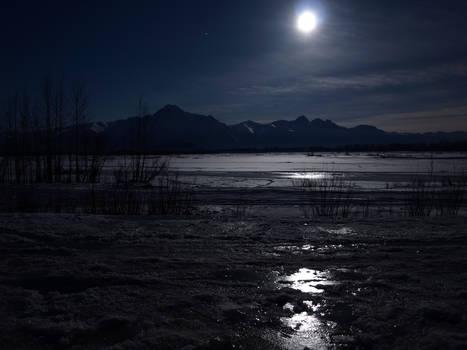 Matanuska River and Giant Moon