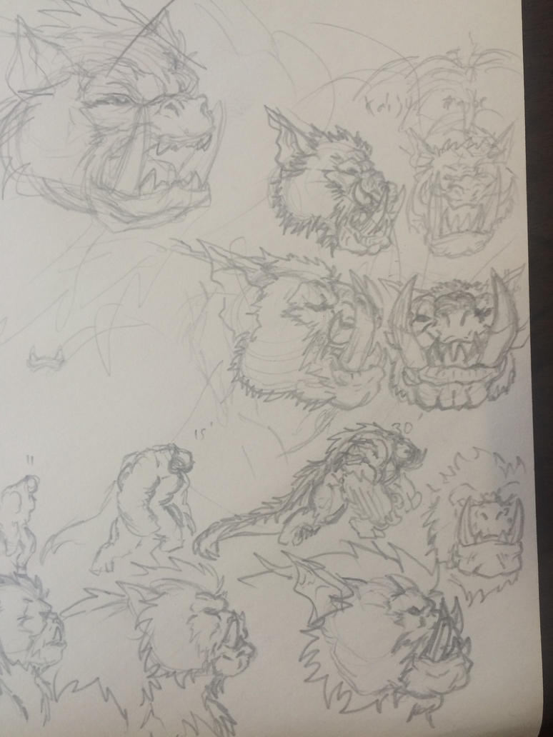 Scary monster sketches by CarlChrappa