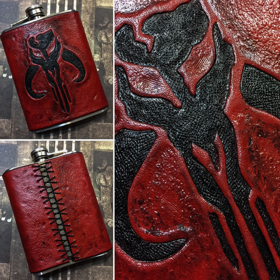 Deep Red Mandalorian Leather Flask by aGrimmDesign