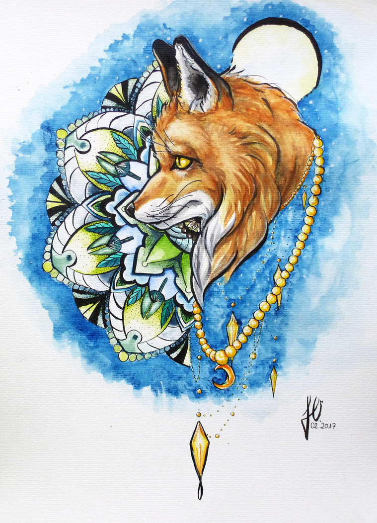Mandala-fox  by JulieOvermann