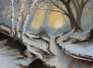 Winter's Sunrise in the Woods - Pastels