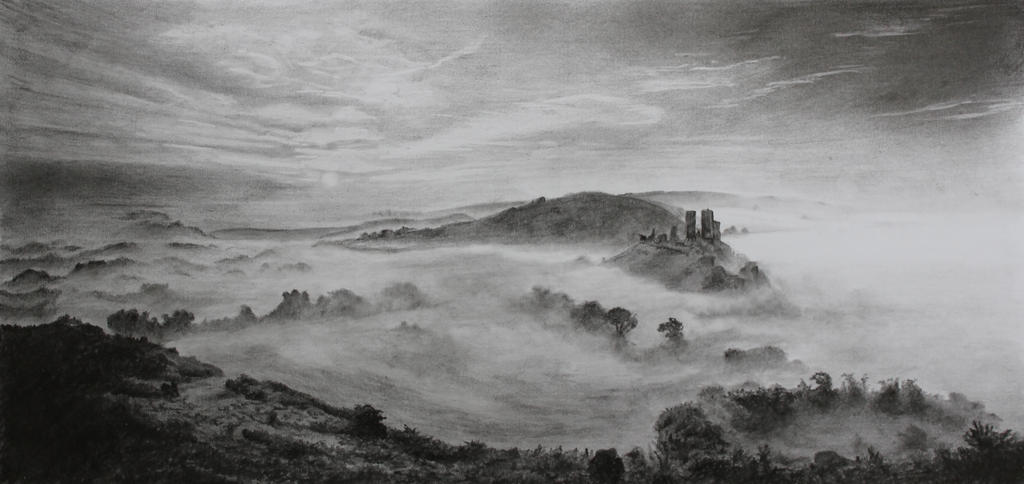 Corfe Castle in the Mist - Pencil by 6re9