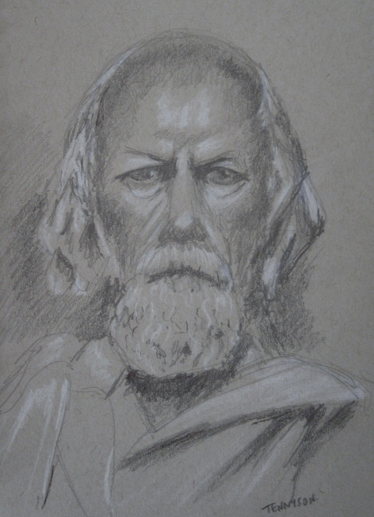 Lord Tennyson - Pencil + Pastel by 6re9