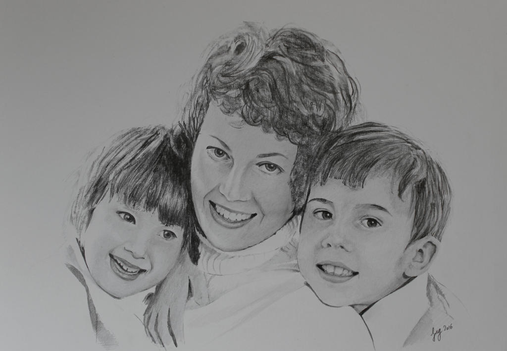 My mum, sister and I - Graphite pencils by 6re9