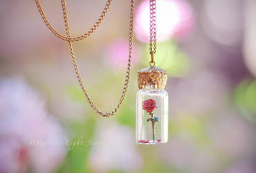 Beauty and the Beast Rose in Bottle Necklace