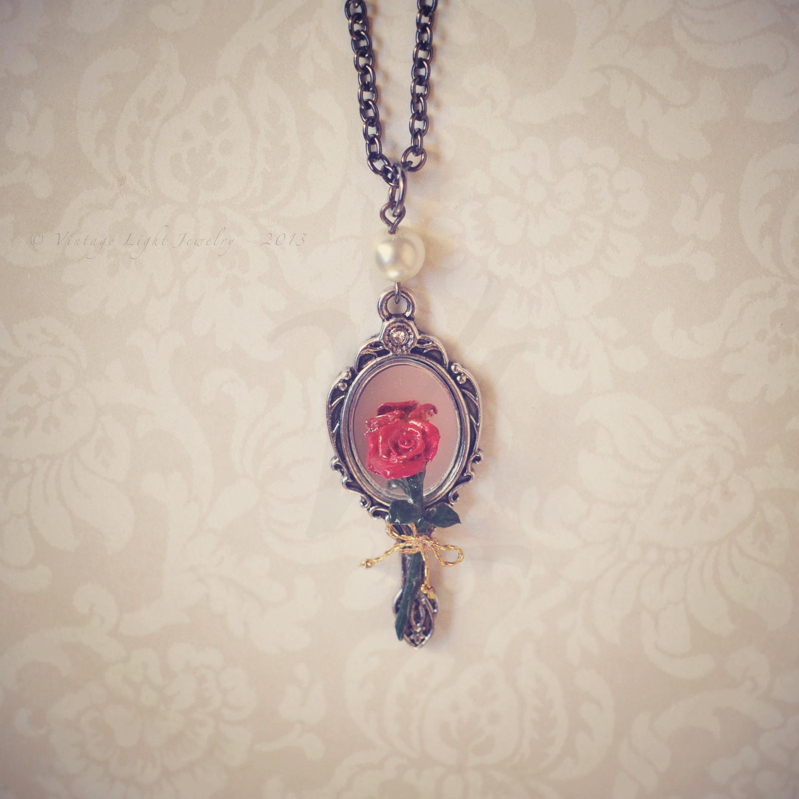 Beauty and the Beast - Rose and Mirror Necklace by VintageLightJewelry