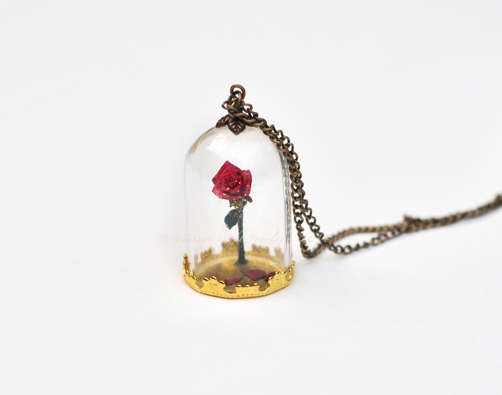 Beauty and the beast enchanted rose 3 by for Disney beauty and the beast jewelry