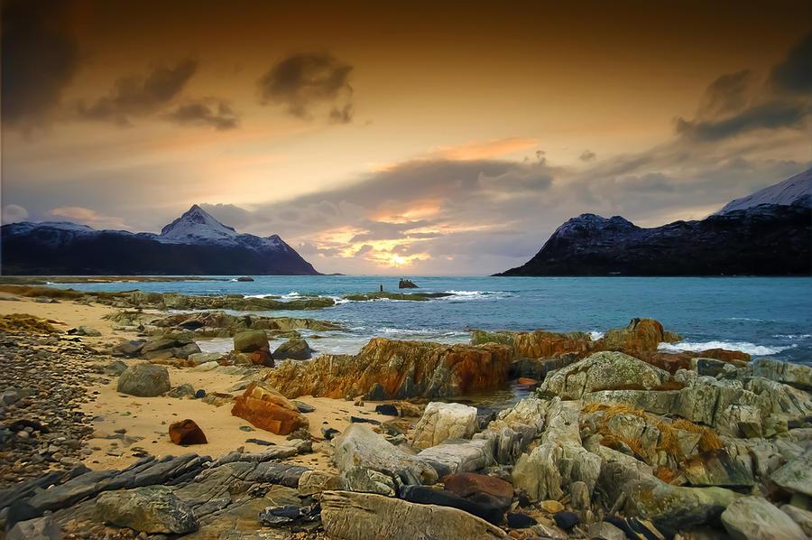 Seascape from Lofoten islands by steinliland