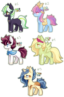 5 Ponies - Offer to Adopt [1/5 OPEN] by Love4Fluffy