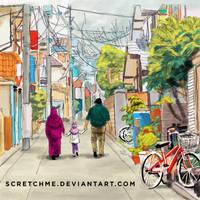 study of japan street + my family
