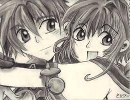 Syaoran and Sakura-Charcoal by RaVeN3x3