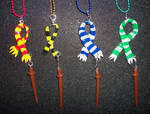 Harry Potter Hogwarts Houses Scarves with Wands