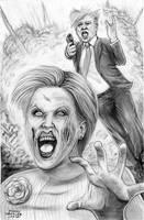 Trump Vs Zombie Hillary by mindywheeler