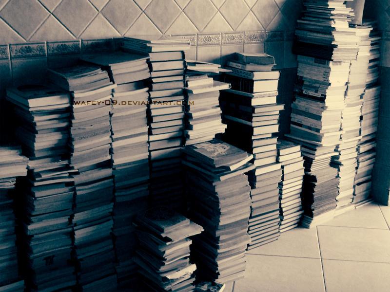 A mountain of books