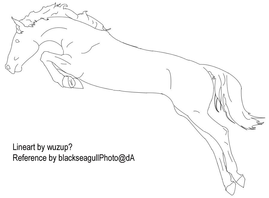 Simple Horse Lineart : Jumping horse line drawing