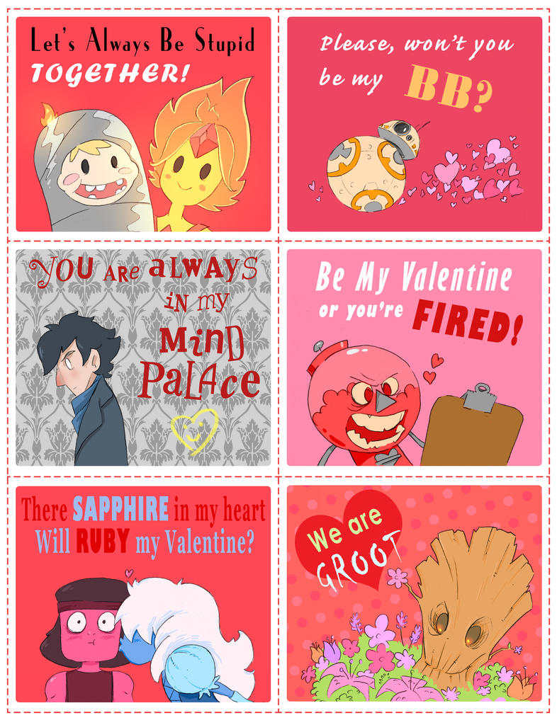 geeky valentines cards by natesquatch