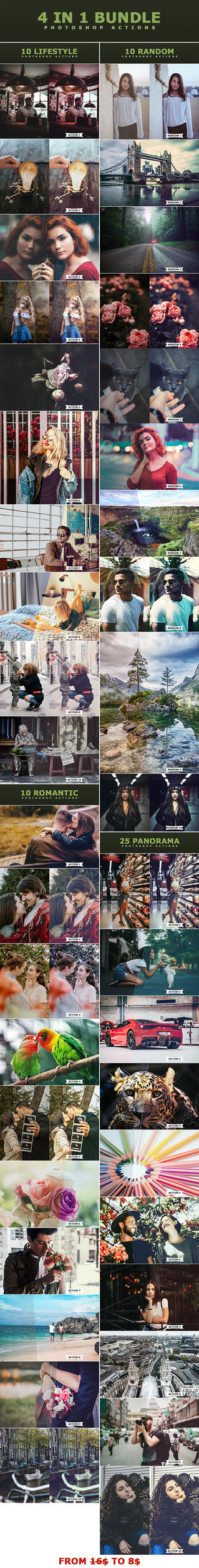 4 IN 1 Photoshop Actions Bundle by ViktorGjokaj