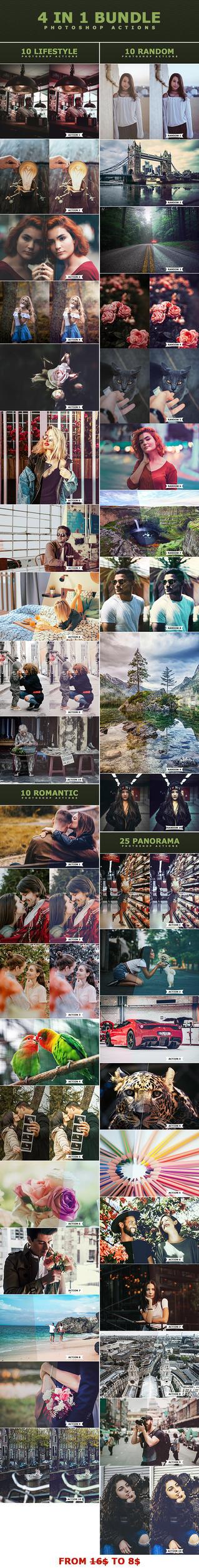 4 IN 1 Photoshop Actions Bundle by ViktorGjokaj