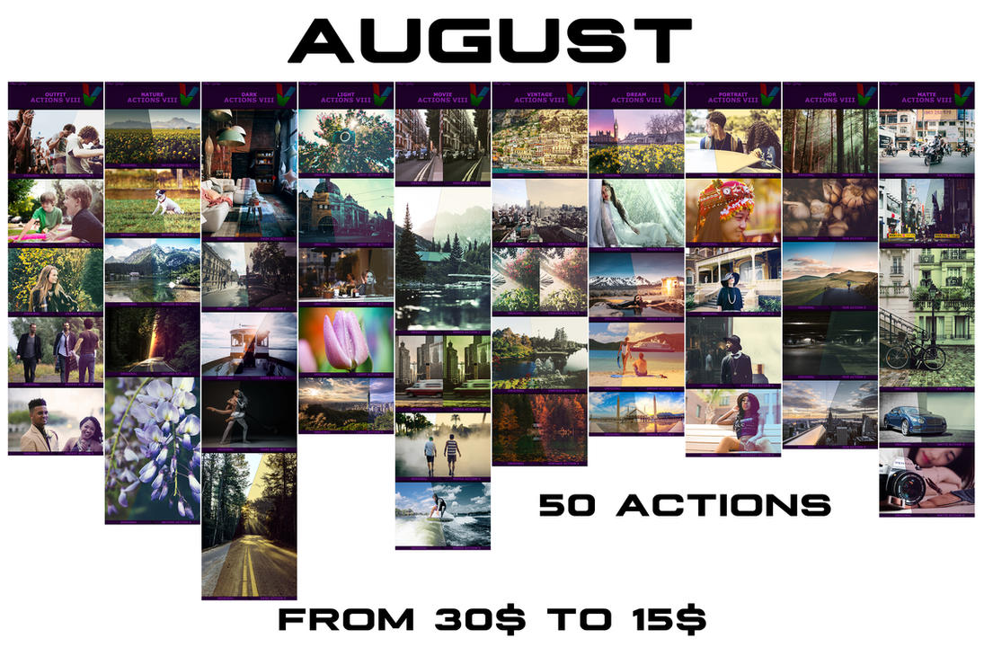 600 August Photoshop Actions by ViktorGjokaj