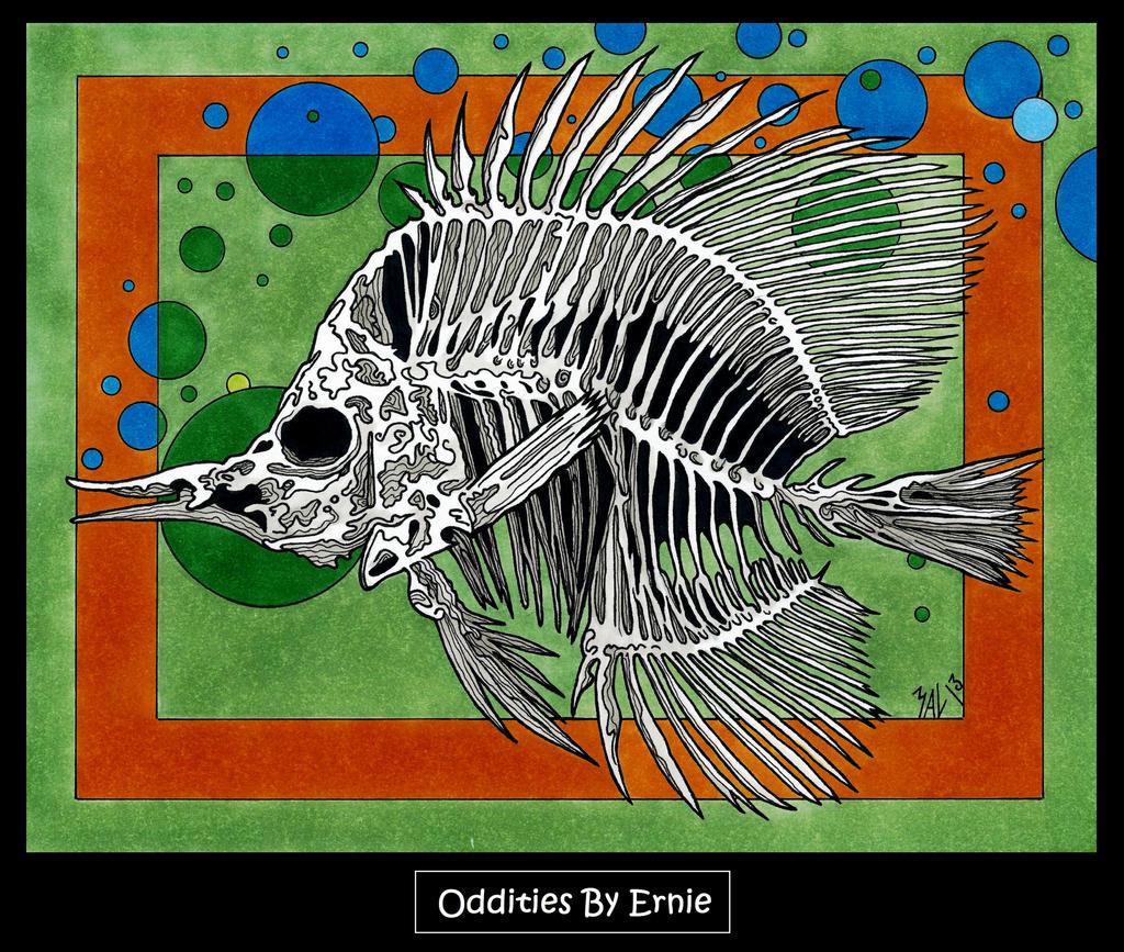 Fish Skeleton in Green by OdditiesByErnie