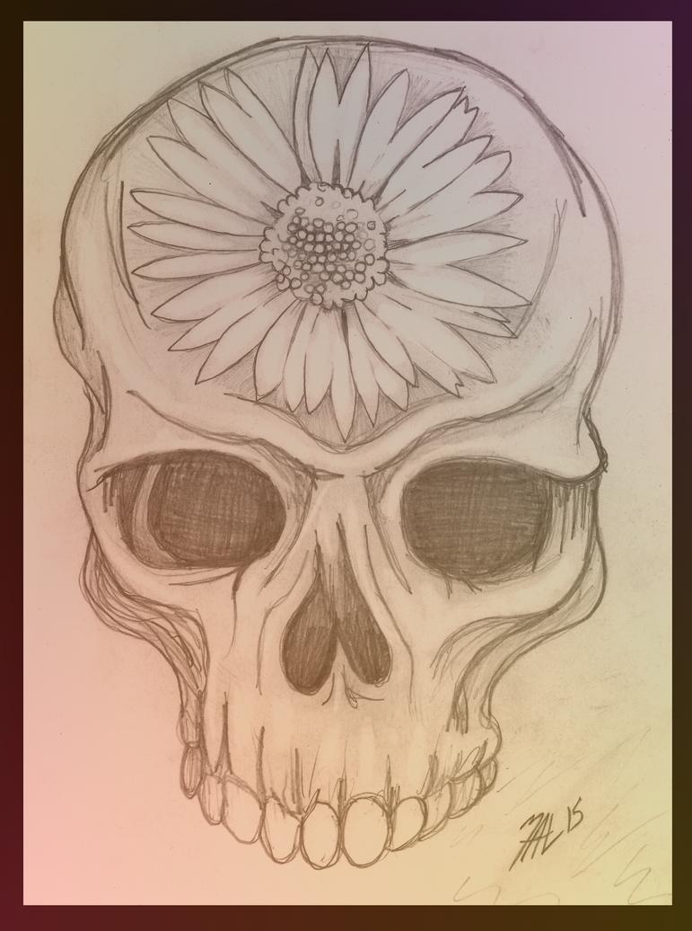 Skull and Daisy by OdditiesByErnie
