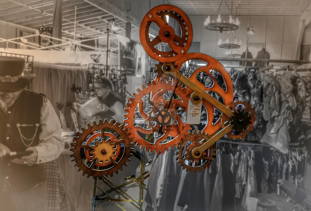 WWWC7 The Wooden Cog n Gears Clock Steampunk by PhotosbyRaVen