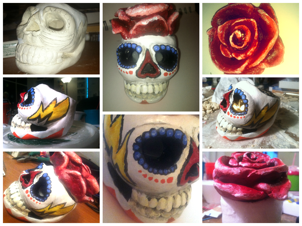 clay sugar skull candle holder by lostfloss on deviantart - clay sugar skull candle holder by lostfloss