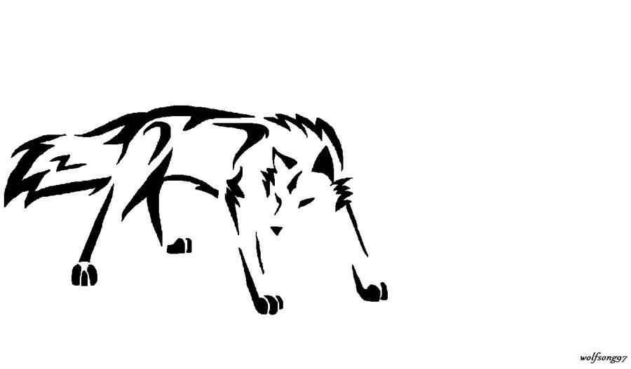 Simple Tribal Wolf Tattoo
