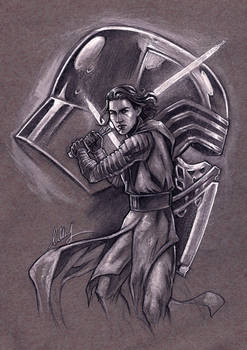 Kylo Ren on gray tone paper 11X14 inch - for sale