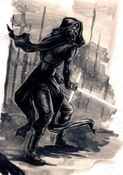Kylo Ren ink sketch  13X9.5 inch - for sale