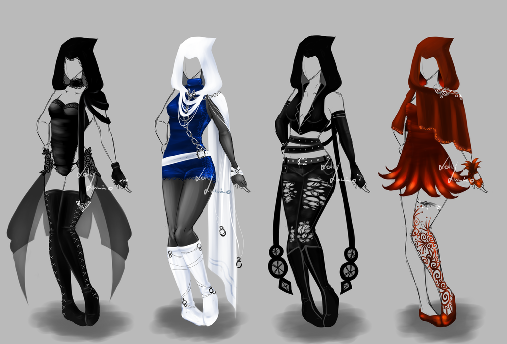 Fashion design sketches of outfits