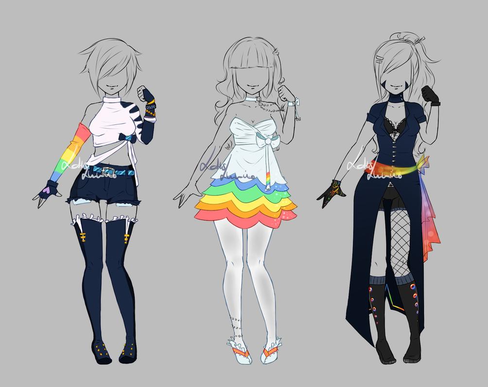 Anime Character Design Base : Test base rainbow set closed by lotuslumino on deviantart