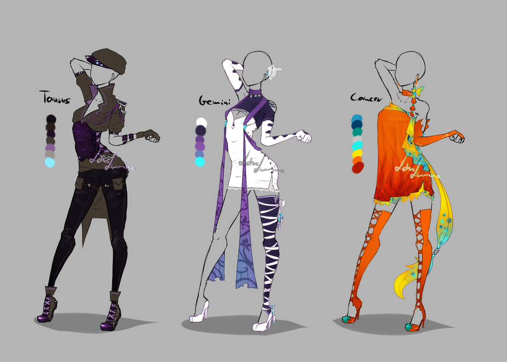 Outfit Design Zodiacs 2 Closed By Lotuslumino On Deviantart