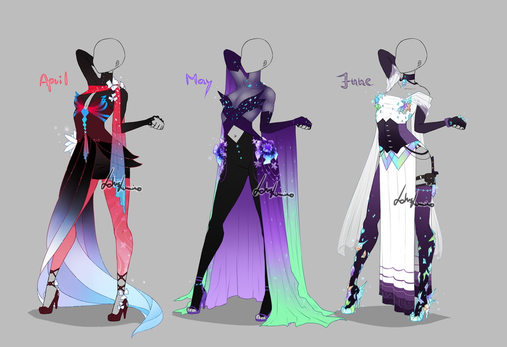 outfit design months 2 closed by lotuslumino on deviantart