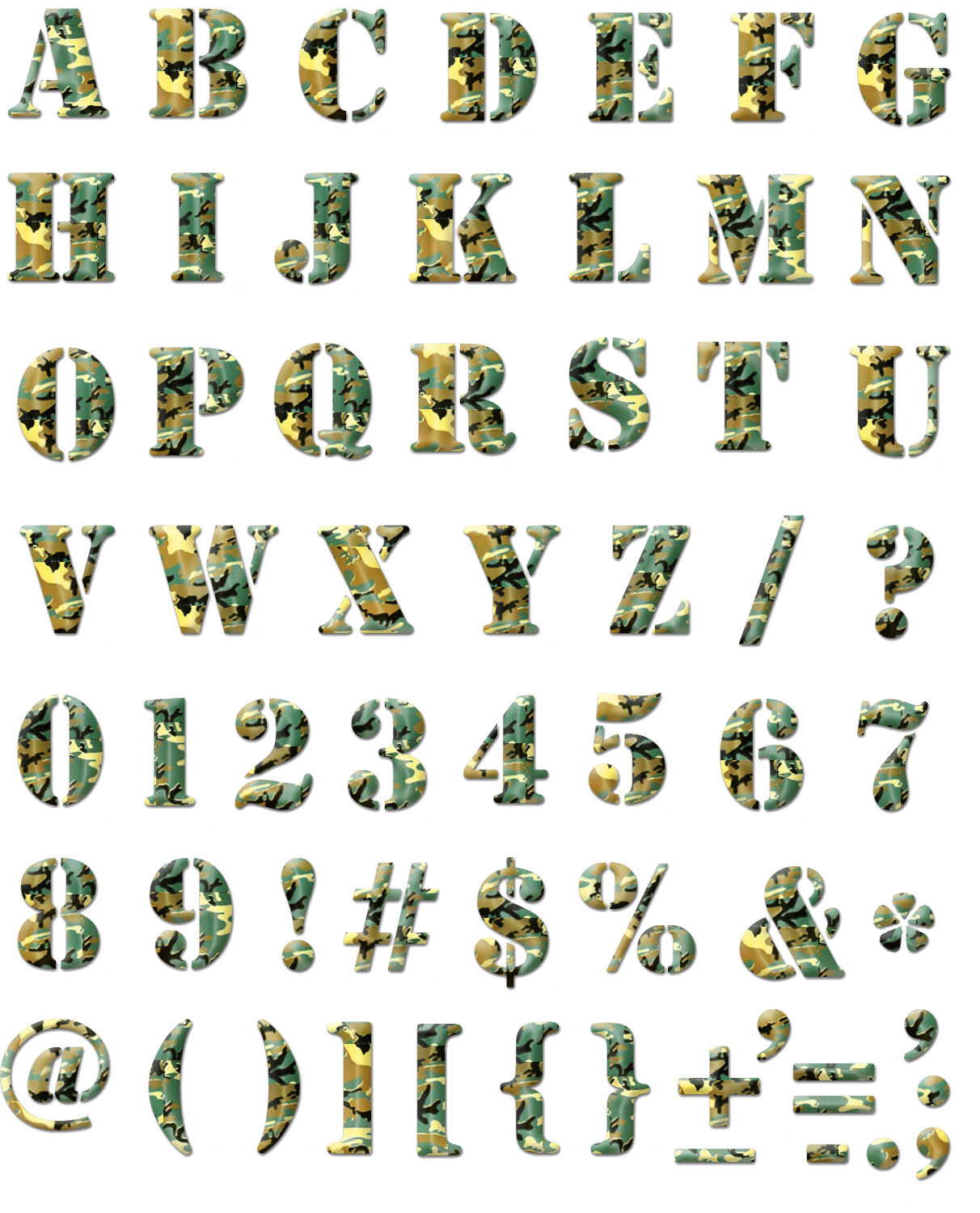 Camouflage Alphabet. PNG by sodadnima on DeviantArt