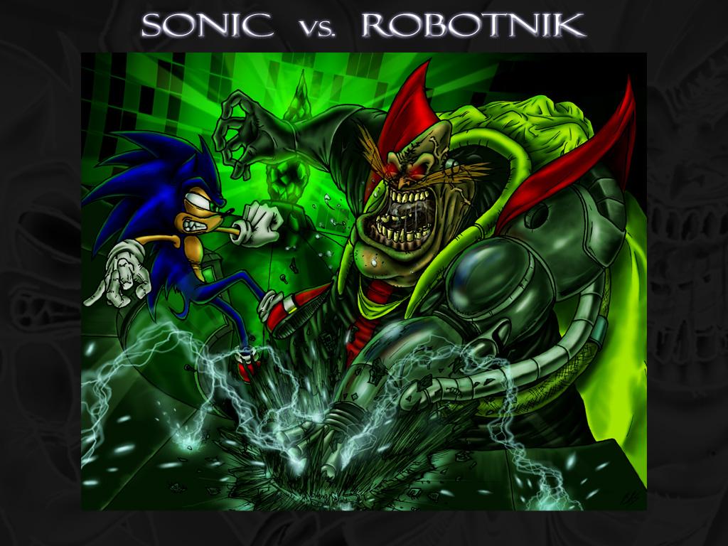 Sonic vs Robotnik Wallpaper by BiggySchmalz