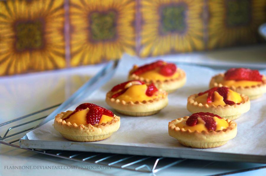 Strawberry Custard Tarts by FlabnBone