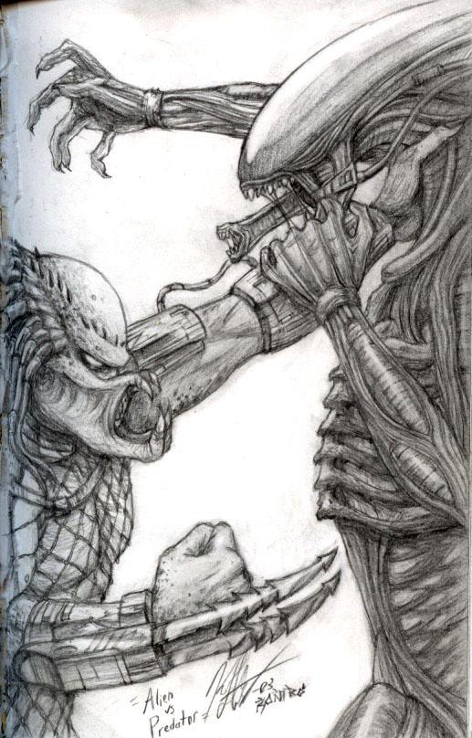 alien vs predator sketch by knkl on deviantart