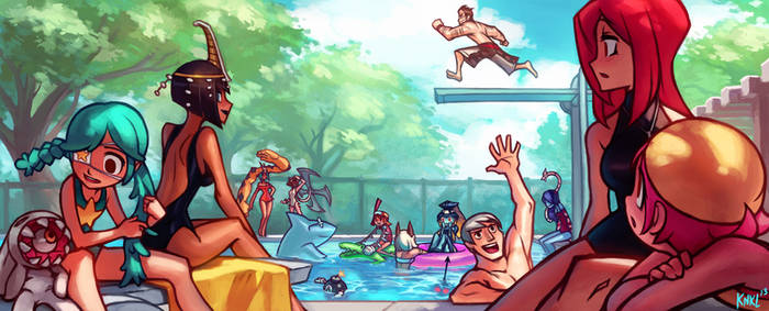 Skullgirls PC art Gallery - Pool party! KNKL