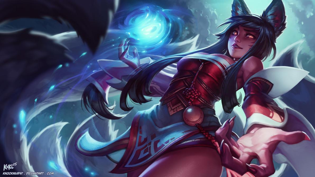 AHRI - League of Legends Fan Splash by Knockwurst