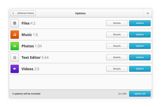Gnome App Sketches: Software Updates View