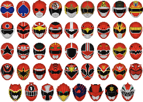 Super Sentai Red Helmets by Taiko554