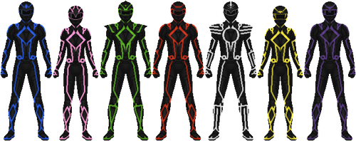 Power Rangers get Tron-ed by Taiko554