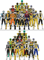 All Super Sentai and Power Rangers Sixths by Taiko554
