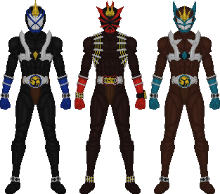 Kamen Riders Danki, Sabaki, and Eiki by Taiko554