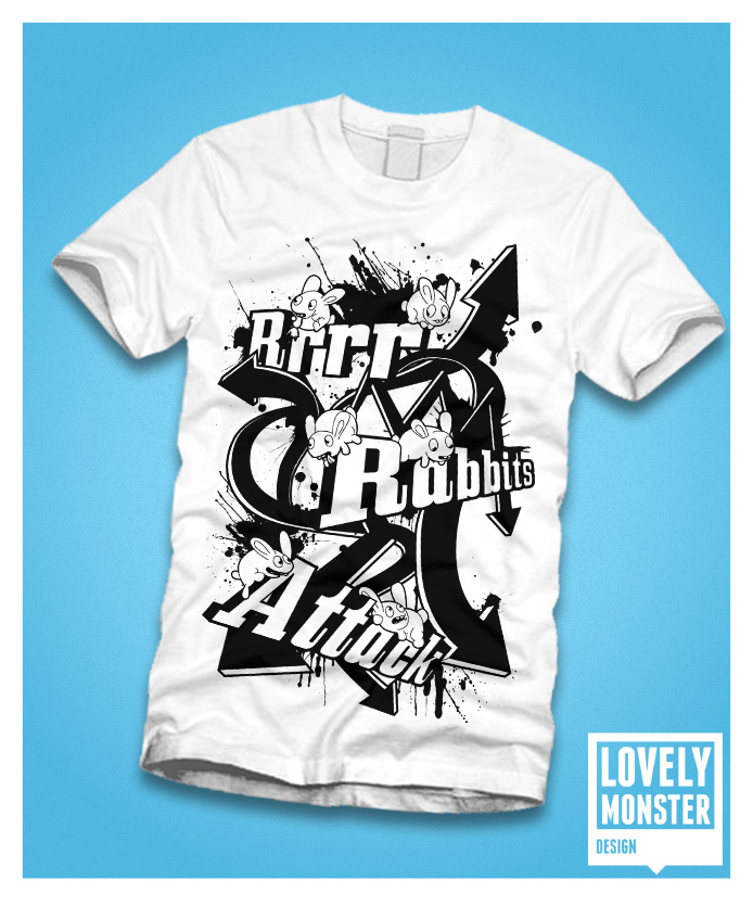 Rabbits Attack Bw T Shirt By Lovelymonsterdesign On Deviantart
