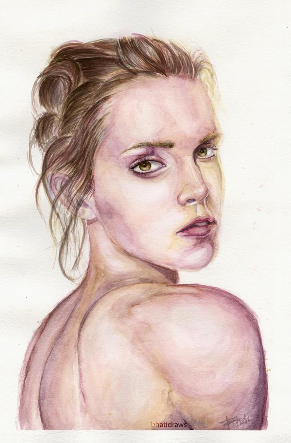 Emma Watson - Watercolor Portrait by Bhatidraws