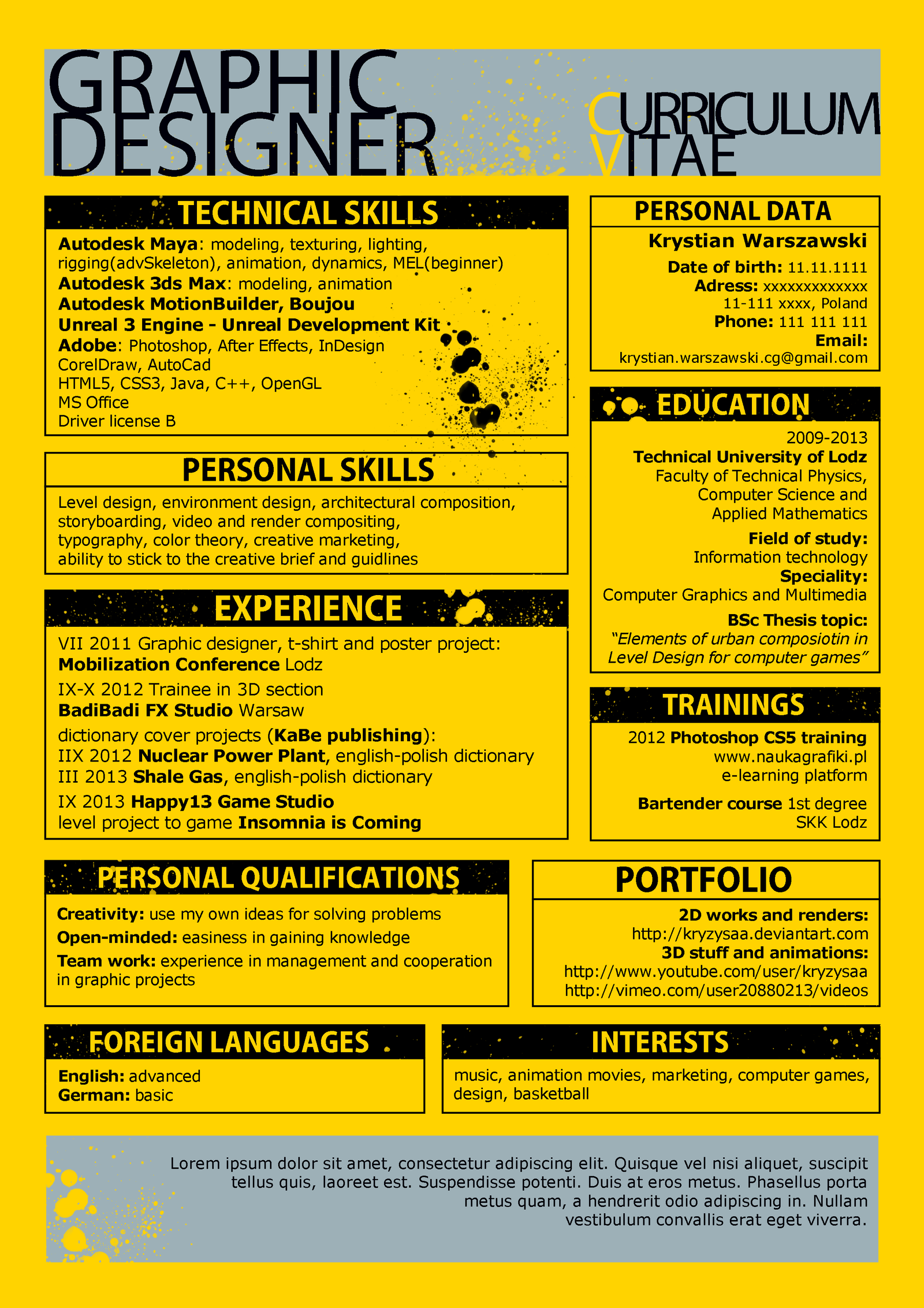 my graphic designer cv project by kryzysaa on deviantart