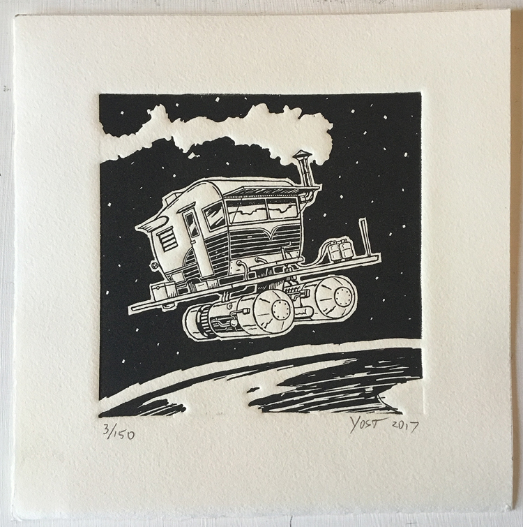Space Camper Relief Print by Varin-maeus